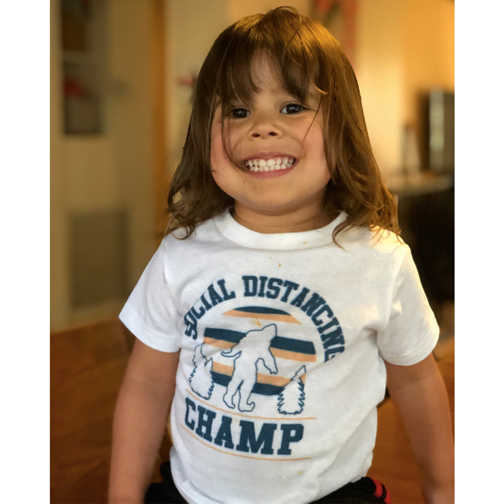 Social Distancing Champ Toddler Tee White