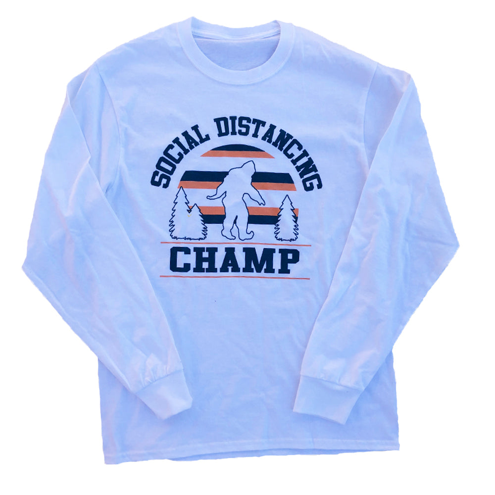 Dweegz: Social Distancing Champ White Unisex Long Sleeve Tee