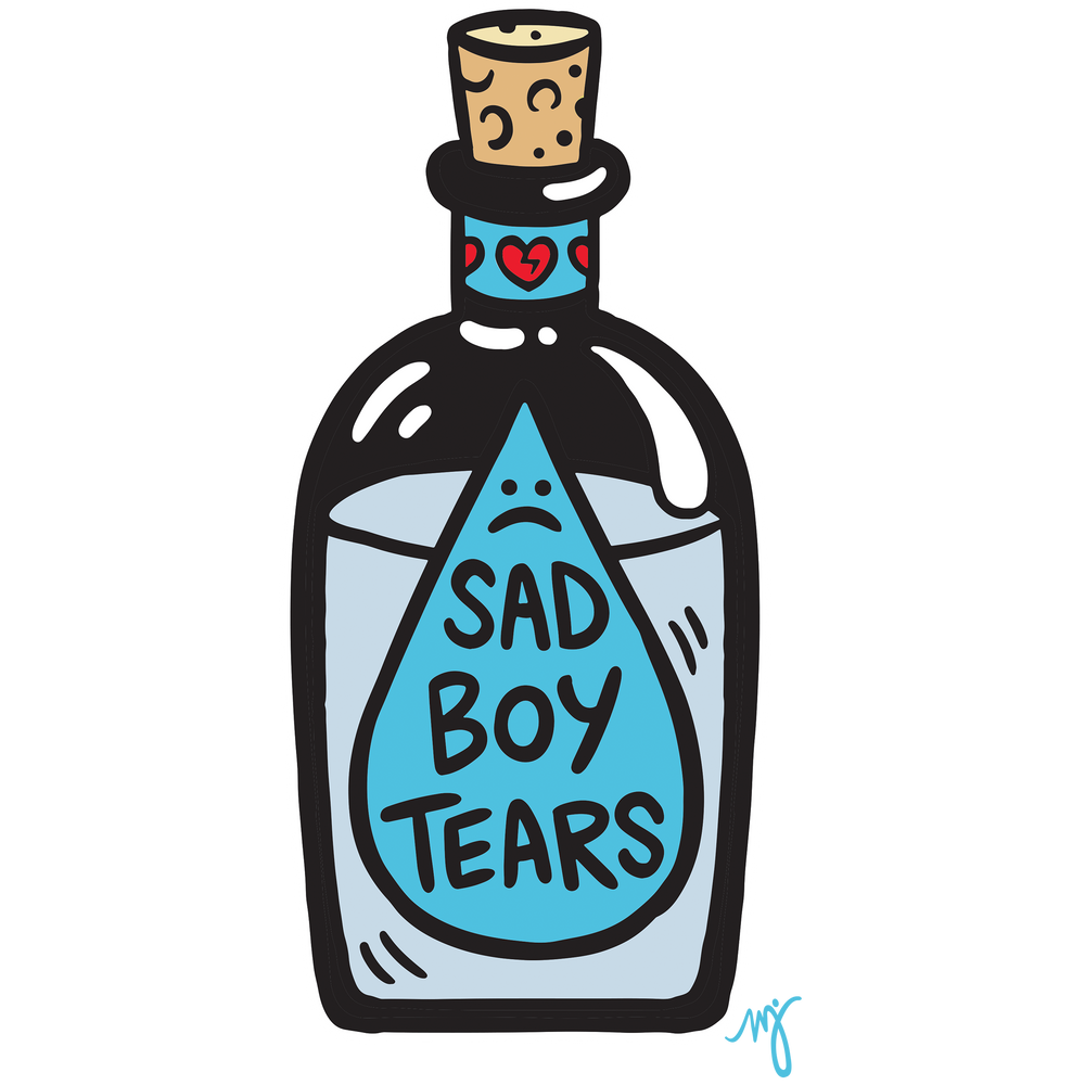 MD- Sad Boy Tears adult black short sleeve tee