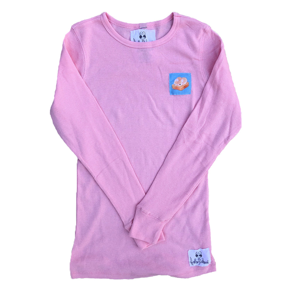 Heathersketcheroos: Toasty Buns Pink Thermal with Blue Patch
