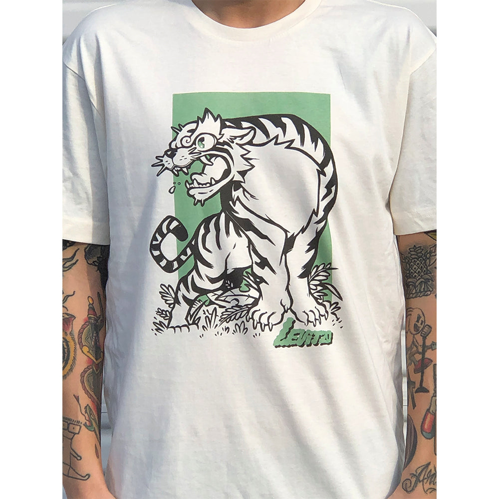 Levitzo- Crouching Tiger: Green Print on Vintage White Tee