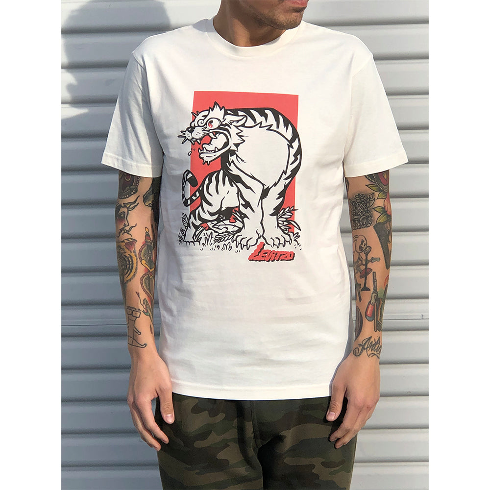 Levitzo- Crouching Tiger: Red Print on Vintage White Tee