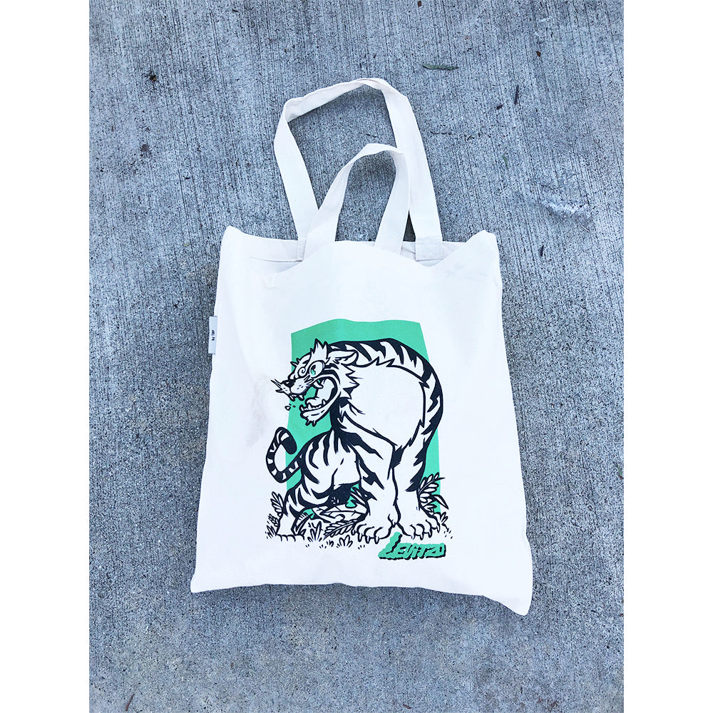 Levitzo- Crouching Tiger: Green Print on Natural Tote