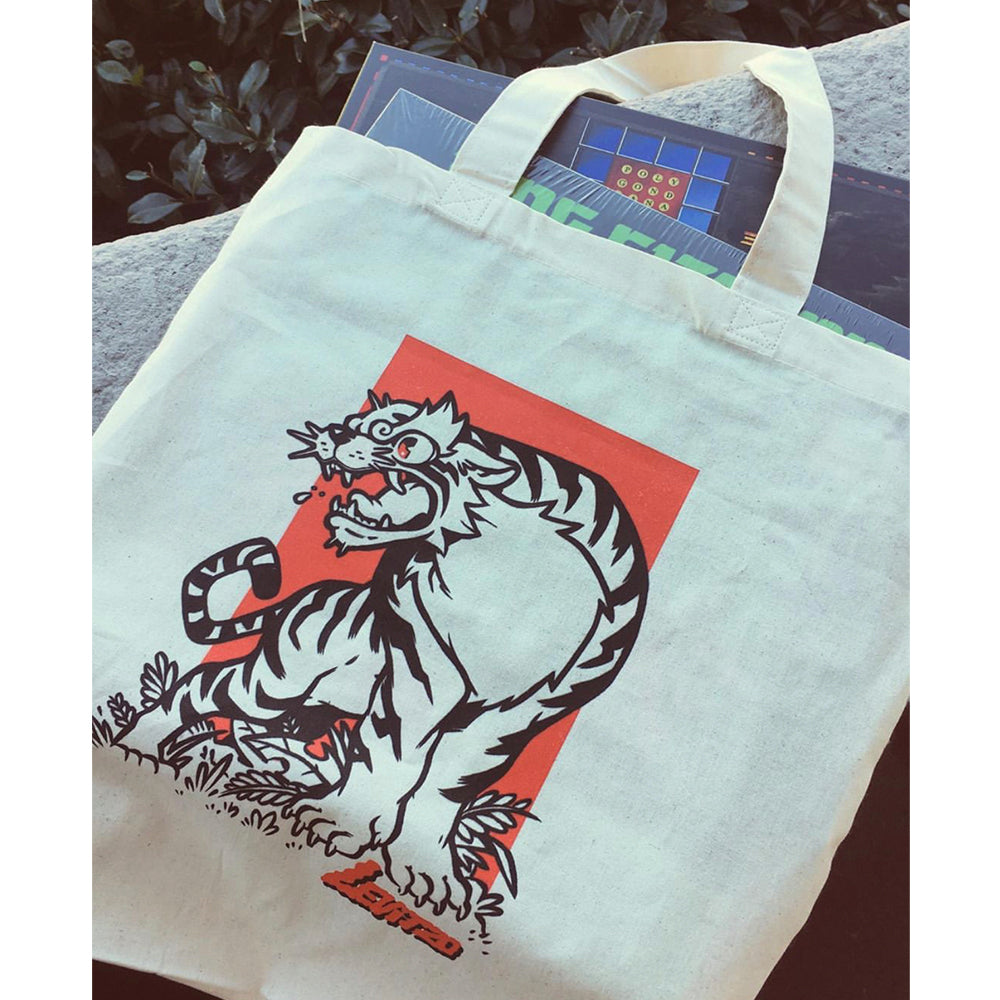 Levitzo- Crouching Tiger: Red Print on Natural Tote