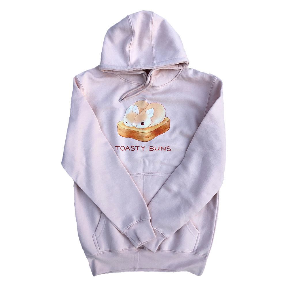 Heathersketcheroos: Toasty Buns with Text Adult Hoodie Pale Pink