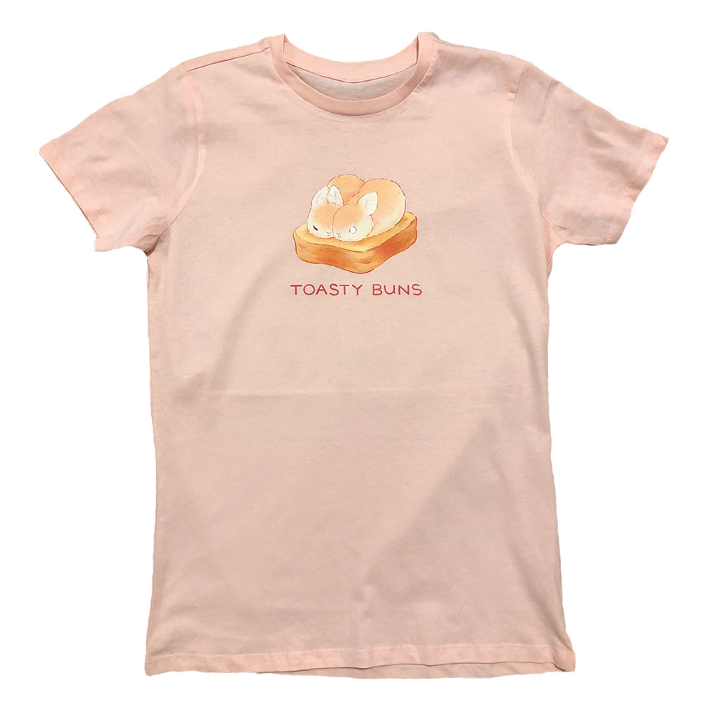 Heathersketcheroos: Toasty Buns WITH Text Women's Short Sleeve Tee Pink