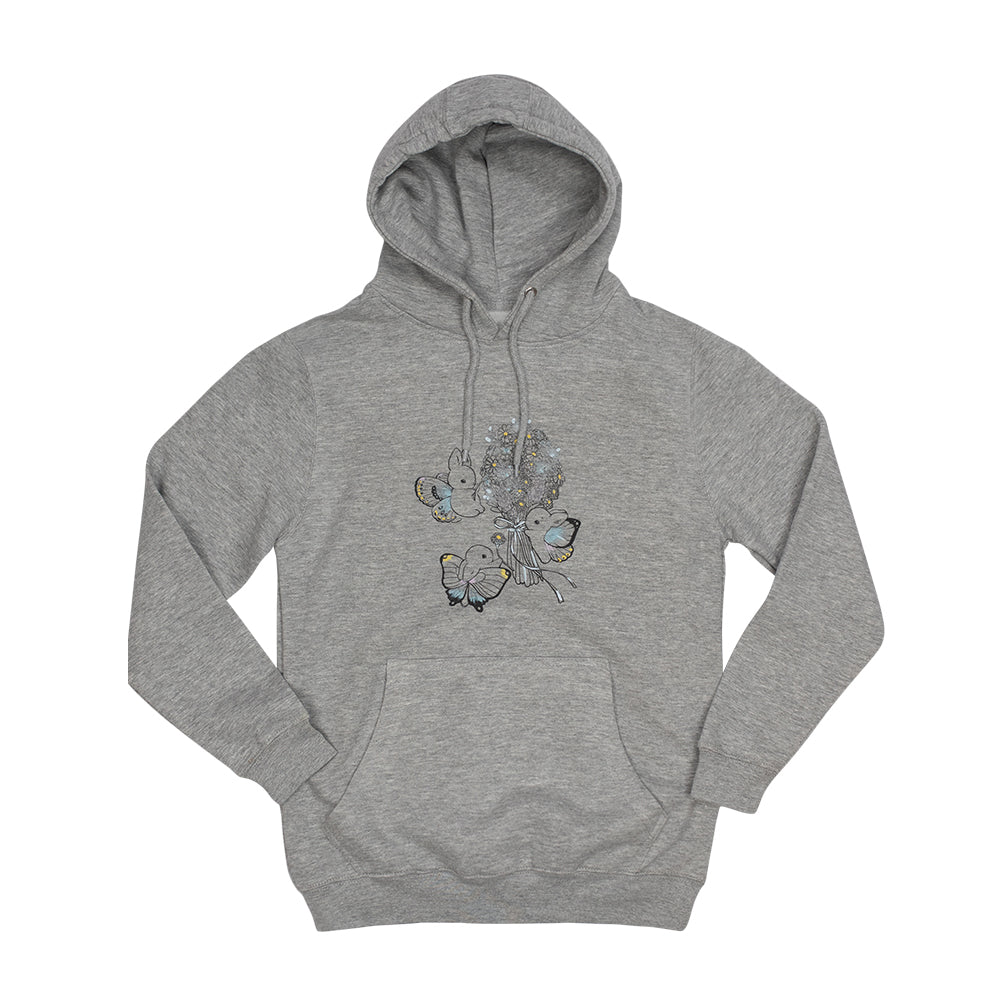 Heathersketcheroos: Bunnerfly Bouquet Adult Hoodie Heather Grey