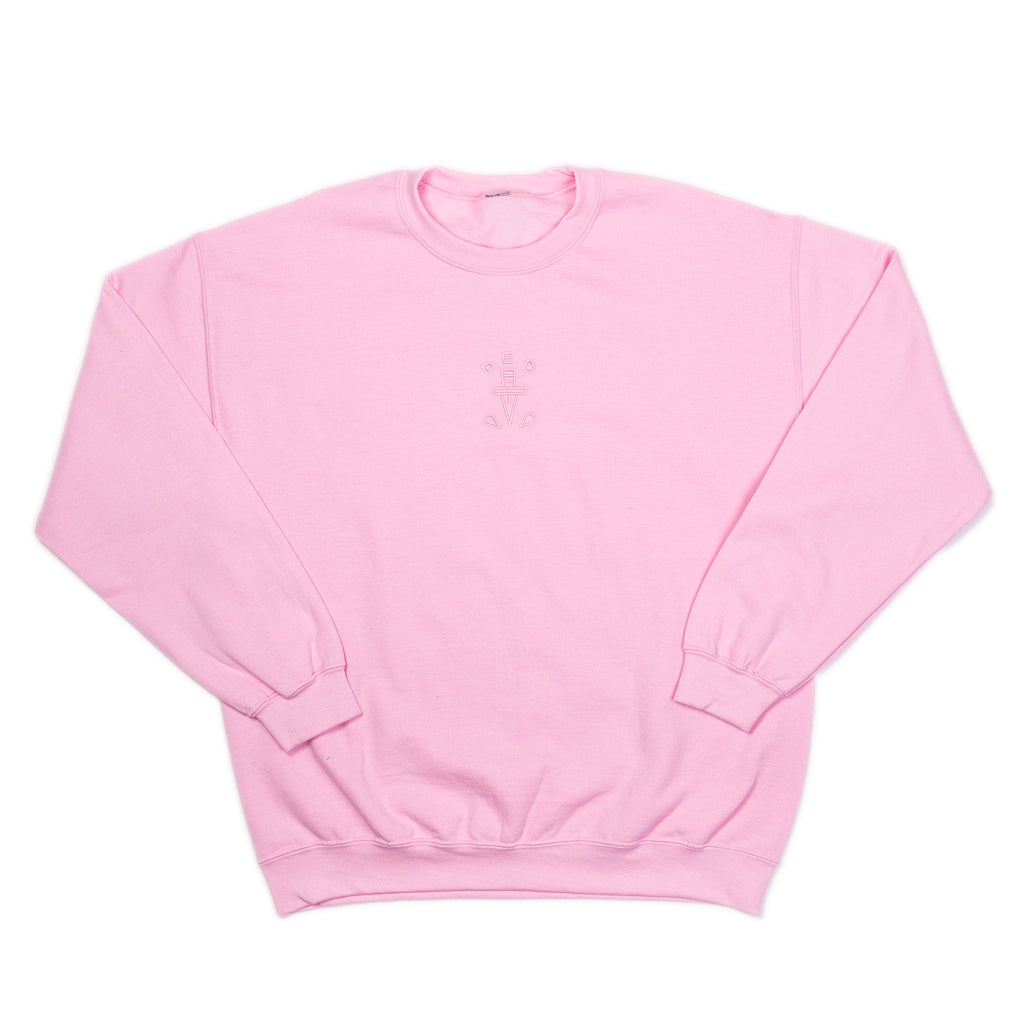 Levitzo: DED Embroidered Crew Neck Uniex Fleece Pink