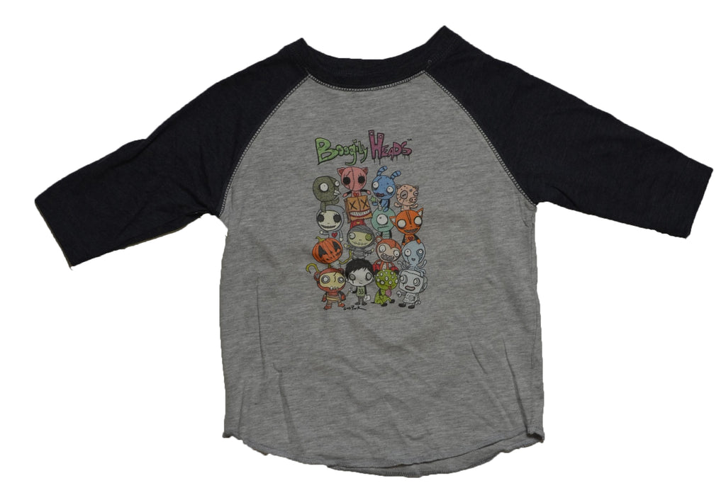 Boogily Heads Group Shot Raglan Tee- heather/smoke