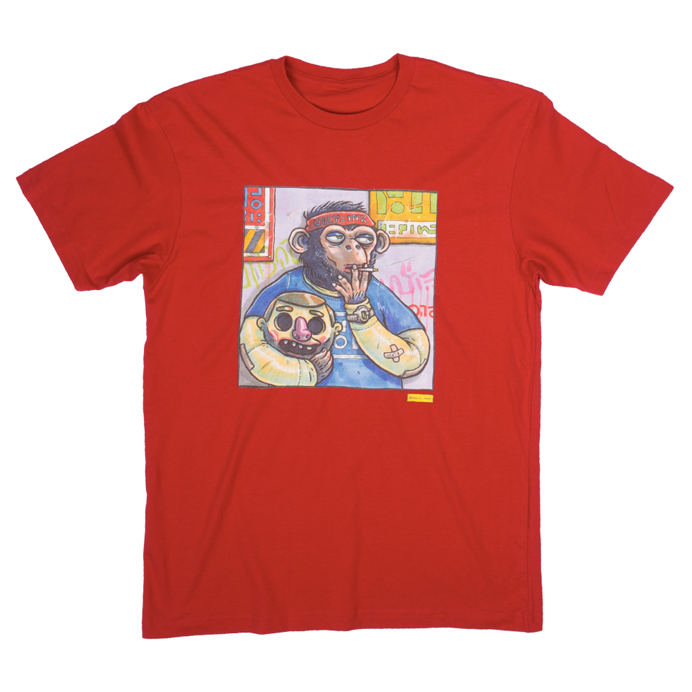 Ugly Ink: Ape Mens tee Red