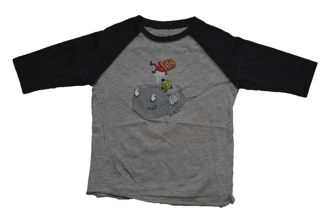 Boogily Heads Whale Time Raglan Tee- heather/smoke