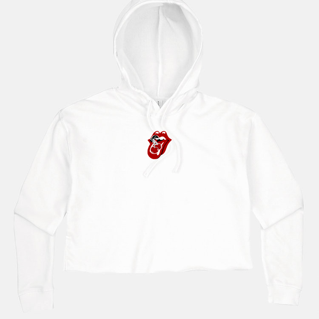 Cherry Lips Cropped Hoodie - White