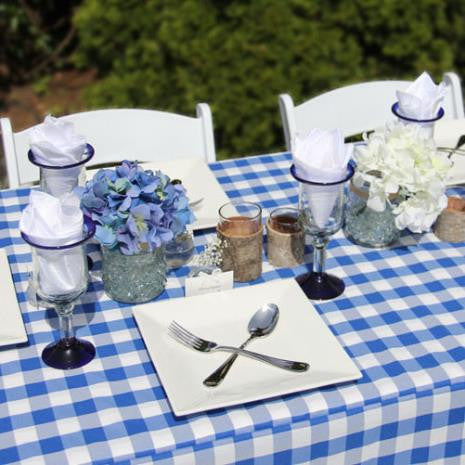 Royal Blue Check Tablecloth