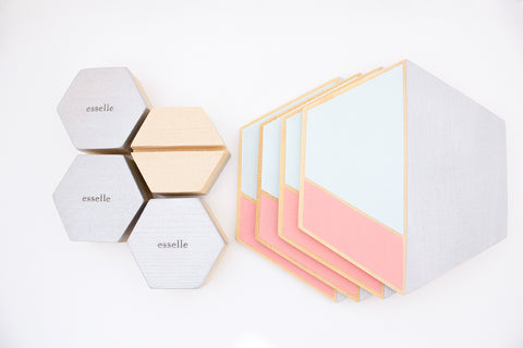 hexagon hand painted coaster