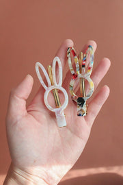Bunny Acetate Terrazo Hair Clip - white/lilac