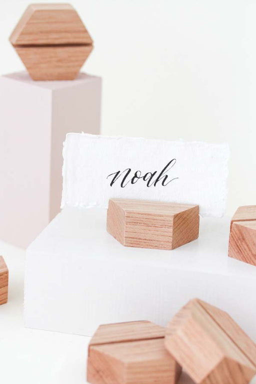 Beech Hexagon Place Card Holders (8)