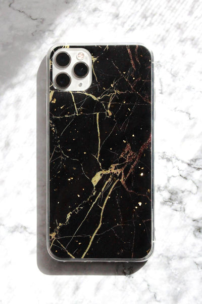 Black Marble with Gold Foil Confetti iPhone Case