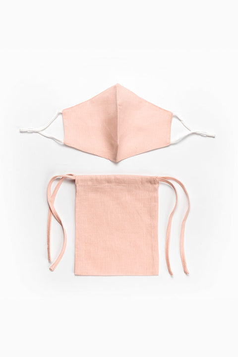 Linen washable face mask with filter pocket - blush