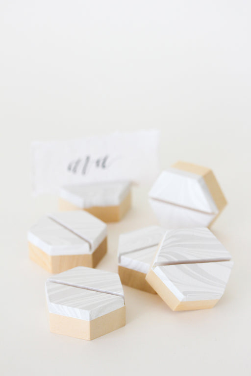 Marbleized Wooden Placecard Holders (6)