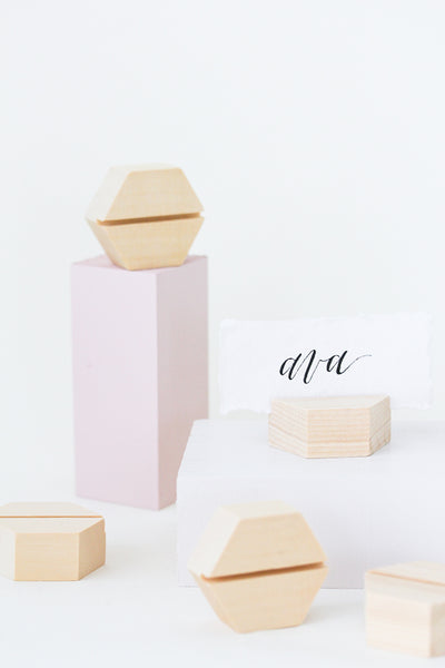 Cedar Hexagon Place Card Holders (8)