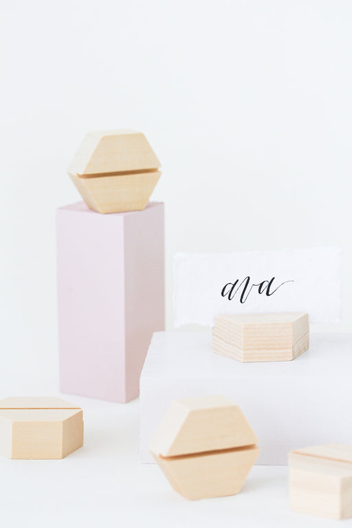 Cedar Hexagon Placecard Holders (6) - More Colors