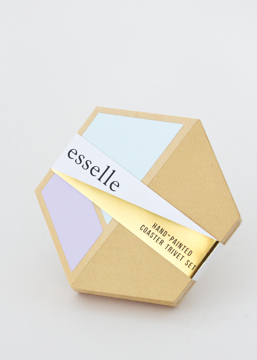 wooden hexagon coasters (lilac/gold)- set of 4