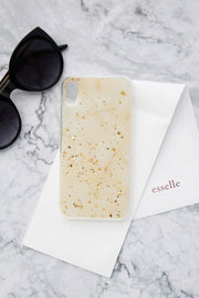 Cream Marble with Gold Foil Confetti iPhone Case