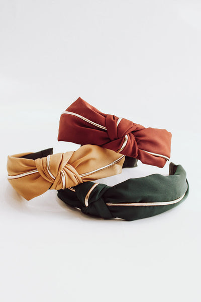 Fabric Gold Knotted Headband Bundle - Warm Tone