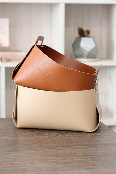 Folded vegan leather basket