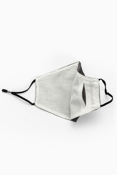 Linen washable face mask with filter pocket - black