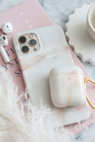 Pink Marble iPhone & AirPods Case