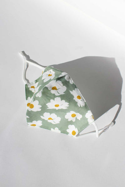Sage cotton washable face mask with filter pocket