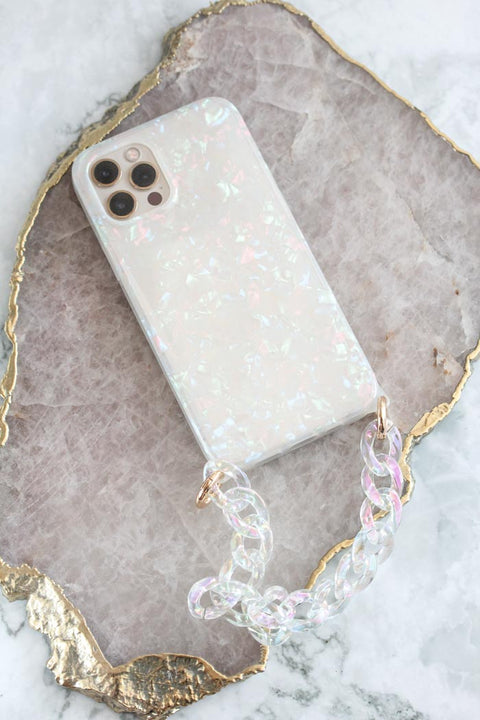 Pearly Tortoise iPhone Case with Acrylic Chain