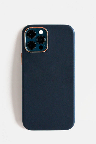 NEW! Vegan Leather iPhone 12 Case - Midnight Blue