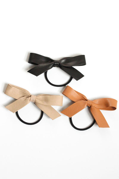 Vegan Leather Bow Hair Tie