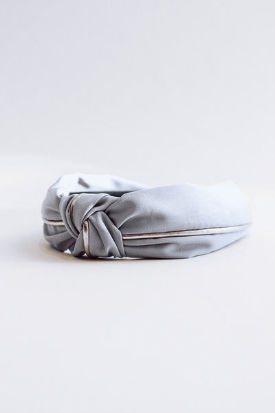 Fabric Gold Knotted Headband - Fog Grey