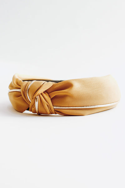 Fabric Gold Knotted Headband - Marigold