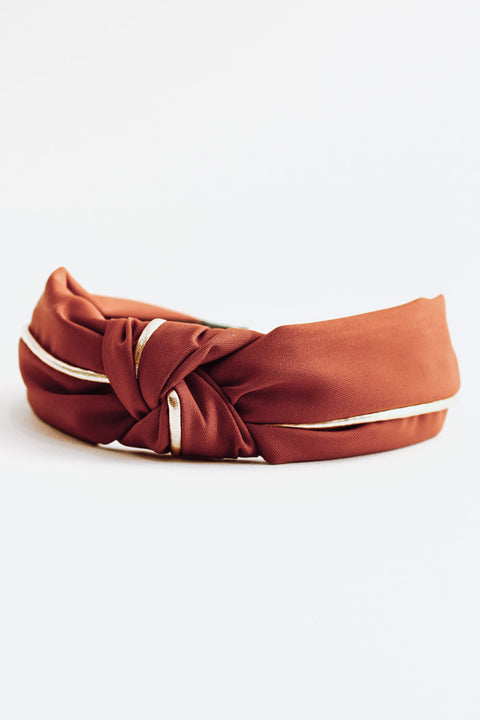 Fabric Gold Knotted Headband - Terracota