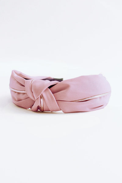 Fabric Gold Knotted Headband - Lilac Pink