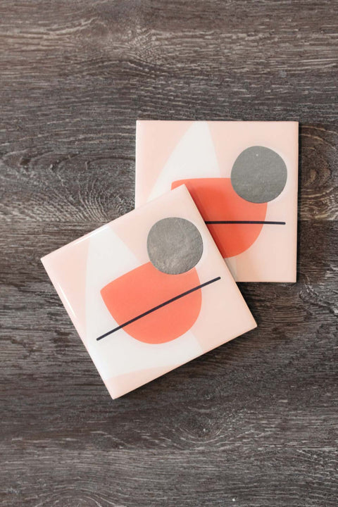 Foiled Resin Coaster Set - Abstract Coral