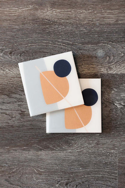 Foiled Resin Coaster Set - Grey