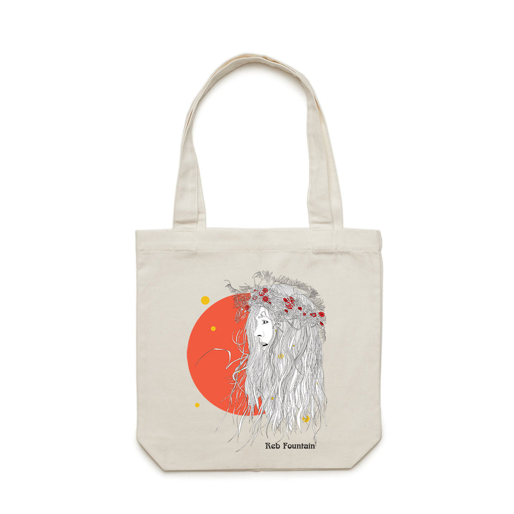 Reb Fountain Orange Moon Tote Bag