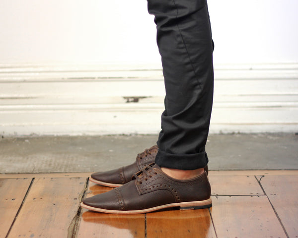 Men's Footwear: Copper - Choc - Leather sole | Mere