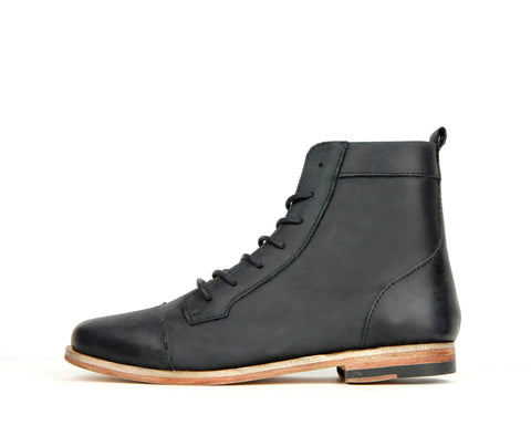 Womens Trooper  - Black - Leather Sole