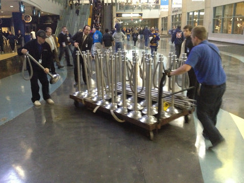 Major Venue Crowd Control vertical storage cart and rope posts