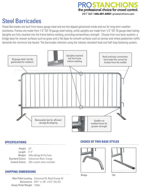 Spec Sheet for The Beast Bike Rack Barricade