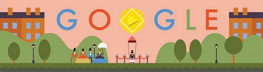 Google Doodle with red carpet post and rope crowd control