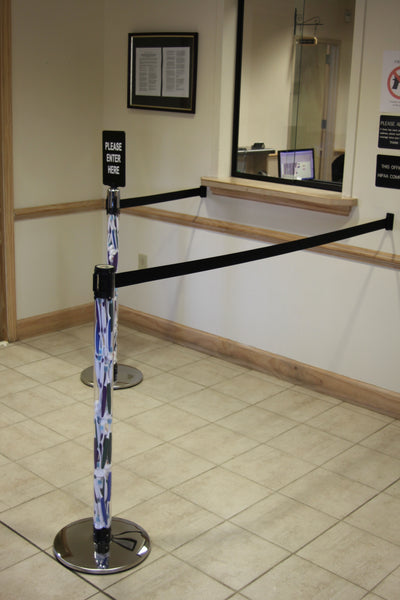 Side View Clear Post Stanchion Polished Chrome Base