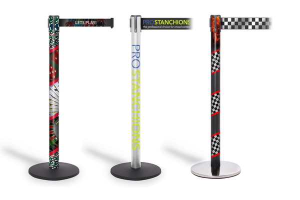 Custom Retractable Belt Stanchions w/Printed Post Wraps