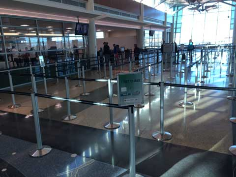 TSA Minneapolis St Paul Airport Retractable Belt Stanchion Maze